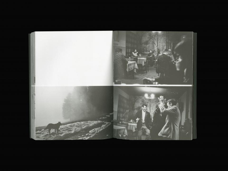 double spread with black and white photography