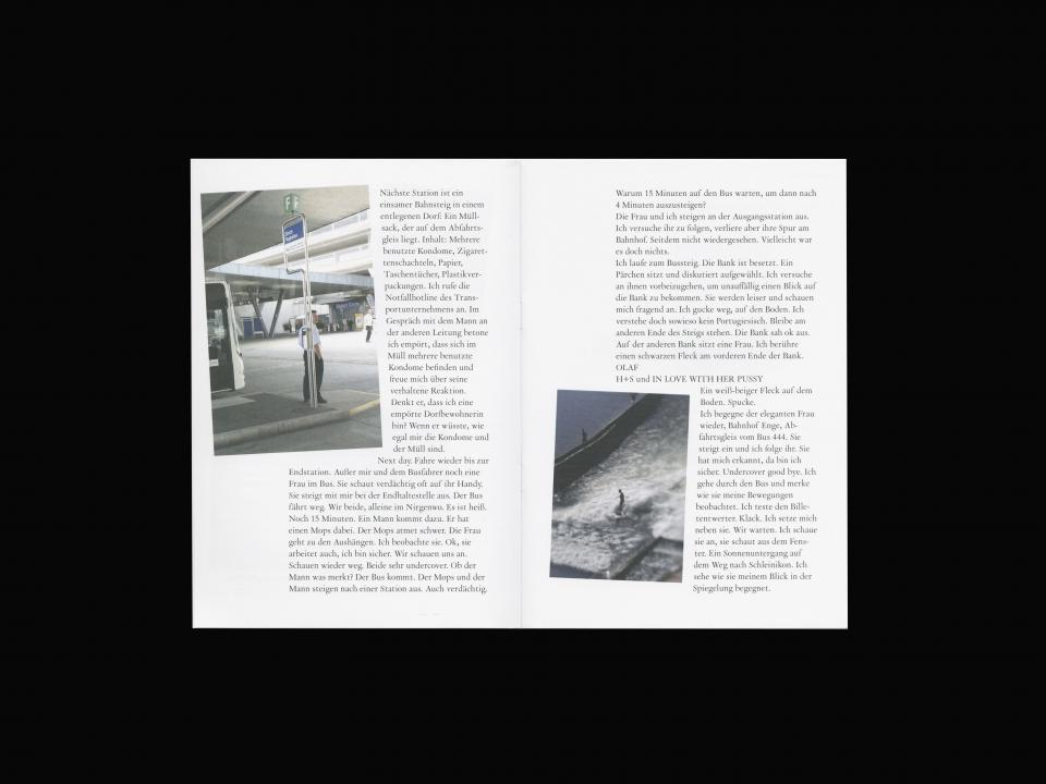 double spread with photography and text